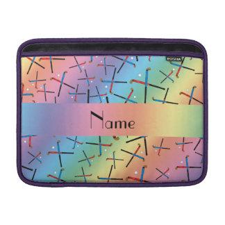Personalized name rainbow field hockey pattern MacBook sleeve