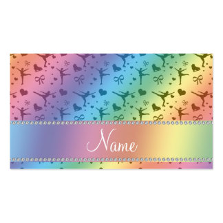 Personalized name rainbow figure skating business cards