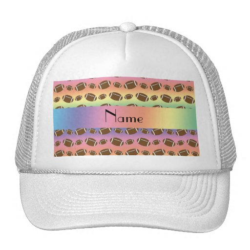 Personalized name rainbow footballs hats
