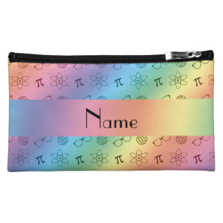 Personalized name rainbow geek pattern cosmetic bag