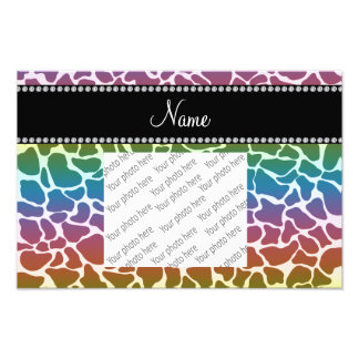Personalized name rainbow giraffe pattern photo print