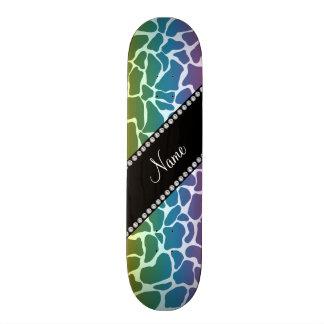 Personalized name rainbow giraffe pattern skateboard decks