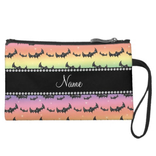 Personalized name rainbow glitter bats wristlet purse