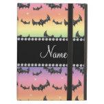 Personalized name rainbow glitter bats iPad folio cases