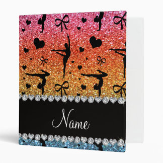 Personalized name rainbow glitter gymnastics 3 ring binder