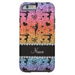 Personalized name rainbow glitter gymnastics tough iPhone 6 case