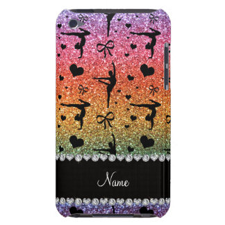 Personalized name rainbow glitter gymnastics Case-Mate iPod touch case