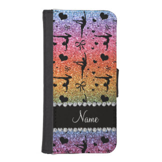 Personalized name rainbow glitter gymnastics iPhone SE/5/5s wallet