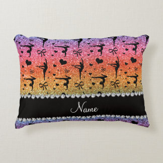 Personalized name rainbow glitter gymnastics accent pillow