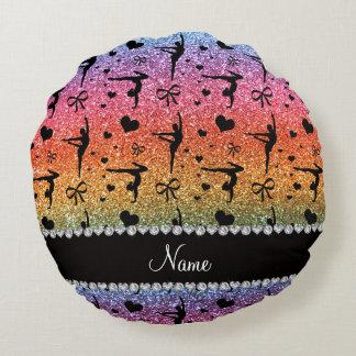 Personalized name rainbow glitter gymnastics round pillow