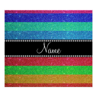 Personalized name rainbow glitter poster
