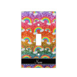 Personalized name rainbow glitter rainbows switch plate covers