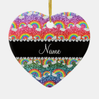 Personalized name rainbow glitter rainbows christmas ornaments