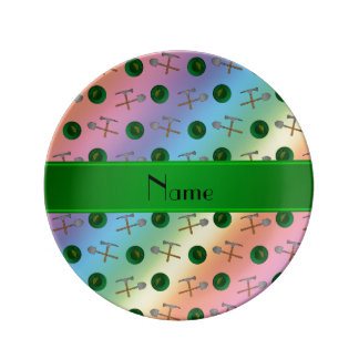 Personalized name rainbow gold mining porcelain plate
