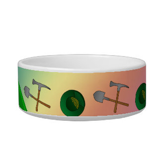 Personalized name rainbow gold mining cat bowls