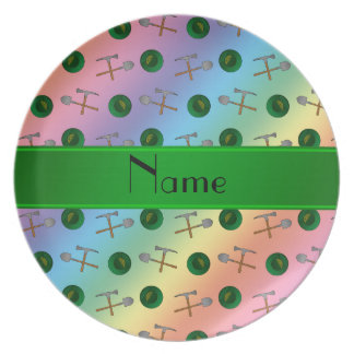 Personalized name rainbow gold mining dinner plates