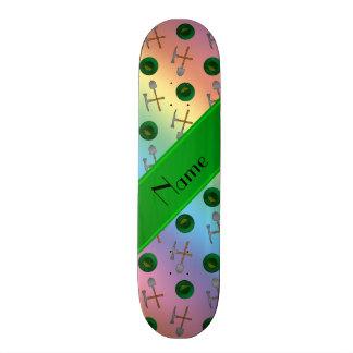 Personalized name rainbow gold mining custom skateboard
