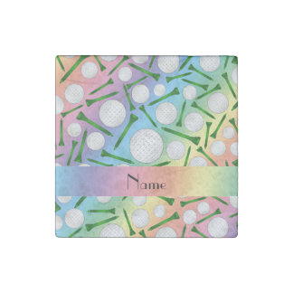 Personalized name rainbow golf balls tees stone magnet