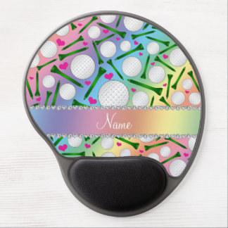 Personalized name rainbow golf balls tees hearts gel mouse pad