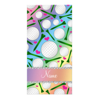 Personalized name rainbow golf balls tees hearts photo card