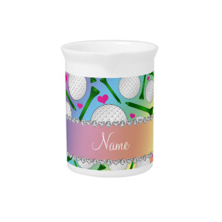 Personalized name rainbow golf balls tees hearts drink pitchers