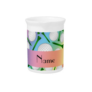 Personalized name rainbow golf balls tees beverage pitchers