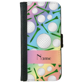Personalized name rainbow golf balls tees wallet phone case for iPhone 6/6s
