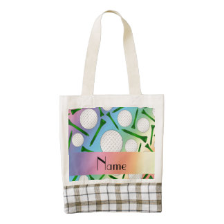 Personalized name rainbow golf balls tees zazzle HEART tote bag