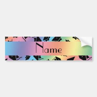 Personalized name rainbow graduation cap bumper stickers
