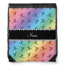 Personalized name rainbow gymnastics pattern drawstring backpack