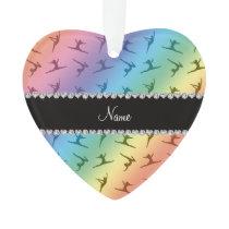 Personalized name rainbow gymnastics pattern ornament