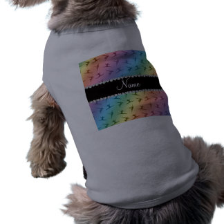 Personalized name rainbow gymnastics pattern pet tee