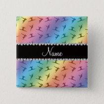 Personalized name rainbow gymnastics pattern pinback button