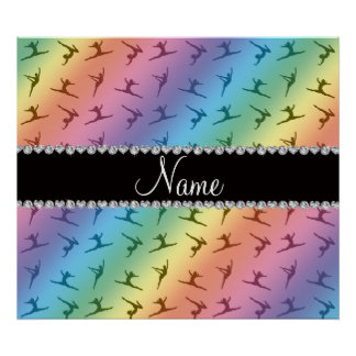 Personalized name rainbow gymnastics pattern posters