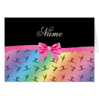 Personalized name rainbow gymnastics pink bow card