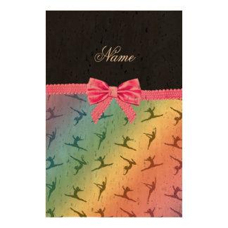 Personalized name rainbow gymnastics pink bow photo cork paper