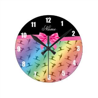 Personalized name rainbow gymnastics pink bow round clock