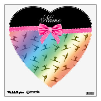 Personalized name rainbow gymnastics pink bow room decals