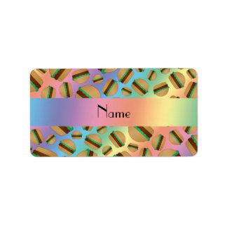 Personalized name rainbow hamburger pattern custom address label