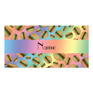 Personalized name rainbow hamburger pattern photo card