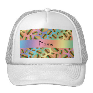 Personalized name rainbow hamburger pattern trucker hat