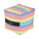 Personalized name rainbow heart diamonds cube pouf