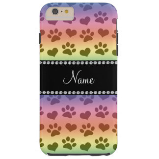 Personalized name rainbow hearts and paw prints tough iPhone 6 plus case