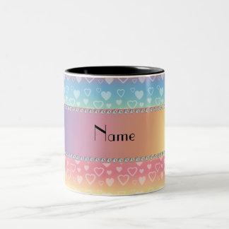 Personalized name rainbow hearts Two-Tone coffee mug
