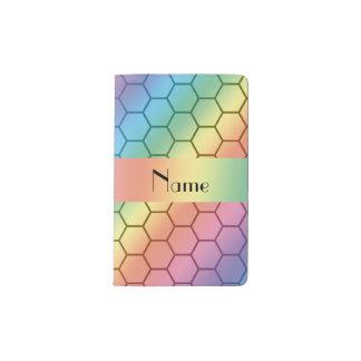 Personalized name rainbow honeycomb pocket moleskine notebook cover with notebook