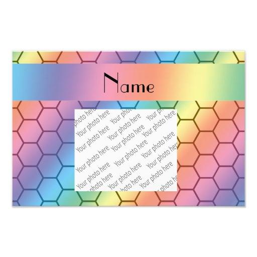 Personalized name rainbow honeycomb photograph