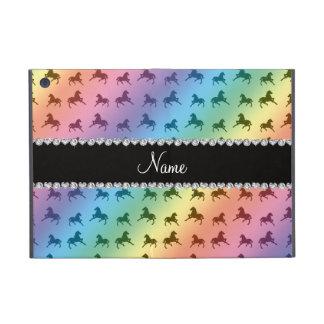 Personalized name rainbow horse pattern iPad mini cases