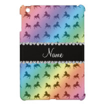 Personalized name rainbow horse pattern iPad mini case