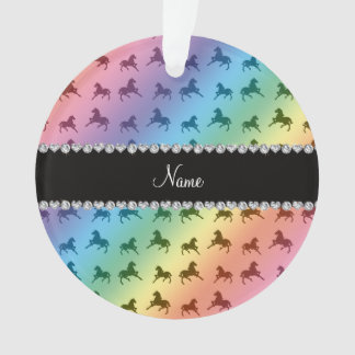 Personalized name rainbow horse pattern ornament