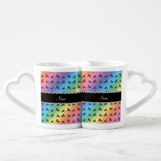 Personalized name rainbow horse pattern couples mug